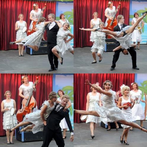 Musiikkiteatterissa tietysti myös tanssitaan. Miika Alatupa pyörittää Roosa Karhusta ja Tiuku Holmaa